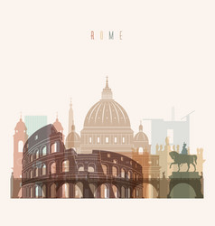 rome skyline detailed silhouette vector image