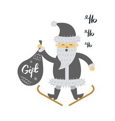 santa claus on ski with gift bag screaming hohoho vector image