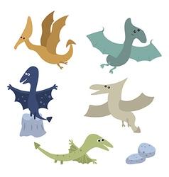 Set funny pterodactyls vector