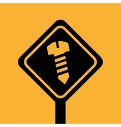 silhouette house repair screw icon design vector image
