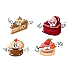Sweet chocolate biscuit and fruity cakes vector image