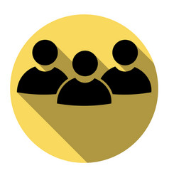 team work sign flat black icon with flat vector image