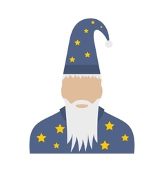 Wizard in a hat with stars flat vector image
