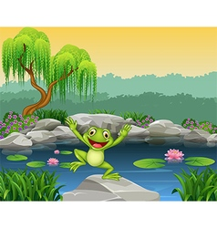 Cartoon happy frog jumping on the rock vector image