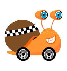 racer snail cartoon vector image vector image