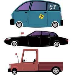 Three cartoon cars vector image