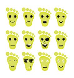 Feet Icon Logo Foot Icon Logo Funny Icon Logo Face vector image