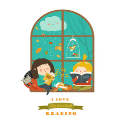 cute girls reading book by the window vector image vector image