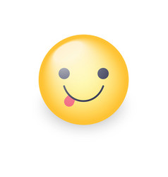 emoticon face with stuck-out tongue cute cartoon vector image