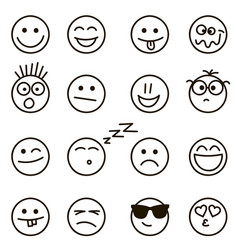 emotional hand drawn faces set vector image