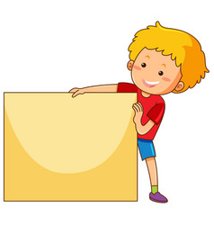 happy boy holding blank paper vector image vector image