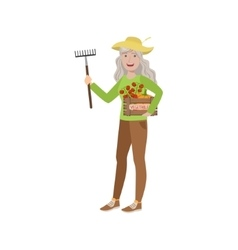 Old Woman With Rake And Crate Of Vegetables vector image