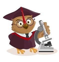 Owl teacher and microscope vector image vector image