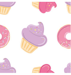 seamless pattern with pink sweets vector image