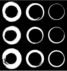Set of White Grunge Circle Stains vector image vector image