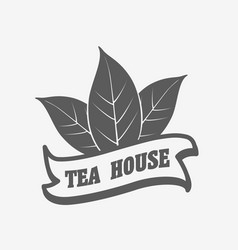 tea house logo label or badge template vector image vector image