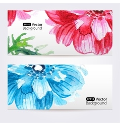 Two floral watercolor banners with anemones vector