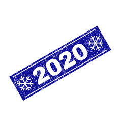 2020 scratched rectangle stamp seal with vector image