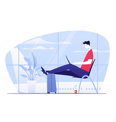 a young man with laptop vector image