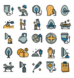 anesthesia icons set flat vector image