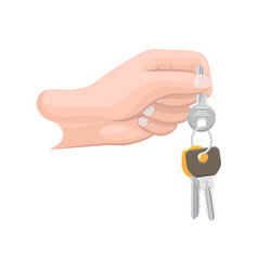 Arm holds bunch of keys isolated vector