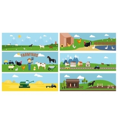Beautiful Farmyard Cartoon Banners vector image