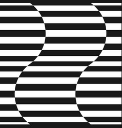 black and white stripes seamless wavy pattern vector image