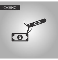 Black and white style cigar dollar vector