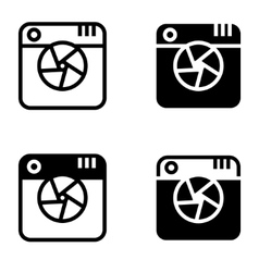 Black digital camera icons set vector