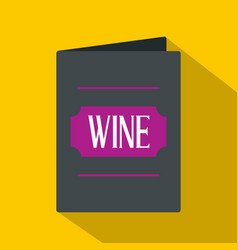 black wine card icon flat style vector image