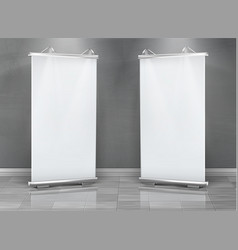 Blank roll up banners vertical stands vector
