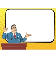 Boss business man speaking at podium lecture or vector