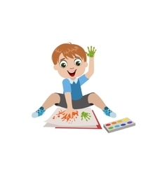 Boy Painting With Hands vector