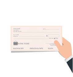 Businessman holding blank bank checks or cheque vector