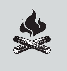 Campfire with Firewood Icon vector