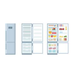closed and open empty refrigerator fridge vector image