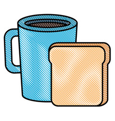Coffee cup drink with toast bread vector