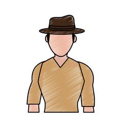 Color pencil silhouette half body faceless vector