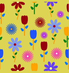 Colorful flowers background pattern vector