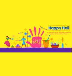Colorful happy holi background for festival of vector