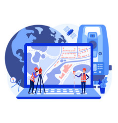 Concept cadastral engineers surveyors on laptop vector