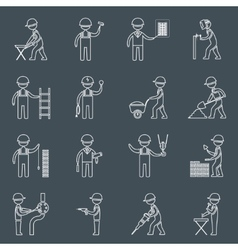 Construction worker icons outline vector image