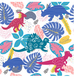 Cute abstract seamless pattern with dinosaurs and vector