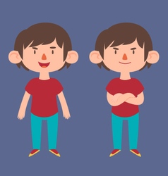 Cute Boy in Different Poses vector image