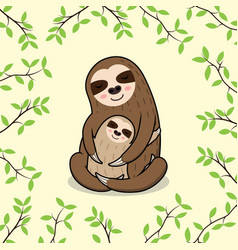cute sleeping mom and baby sloth banner vector image