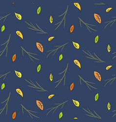 dark night autumn falling leaves pattern vector image