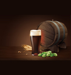 Dark porter beer in glass cup and wood barrel vector