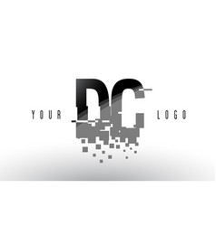 Dc d c pixel letter logo with digital shattered vector