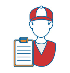 delivery worker with checklist vector image