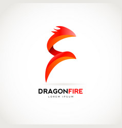 dragon fire logo design symbol vector image